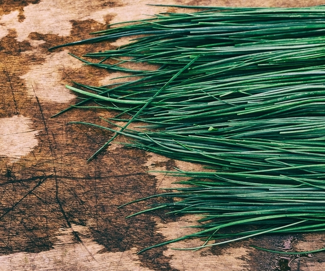 Chives on a table